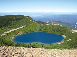 photo of Goshiki Pond is also called the Witch's eyes (Crater lake of Mt. Azuma)