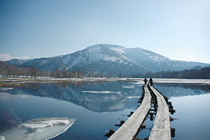 photo of Mt. Shibutsu Reflected in a Lake of Melted Snow (May)