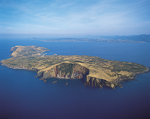 photo of Saga-no-Shima Island's sea cliffs are sites to behold the inner structure of a volcano.
