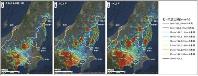 ピーク流出高の値を色別に地図上で表した図