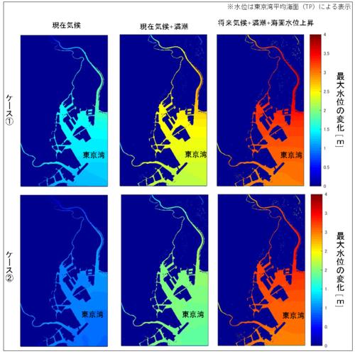 東京湾周辺の最大水位の変化を色別に地図上で表した図